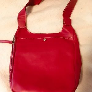 Red leather furla handbag